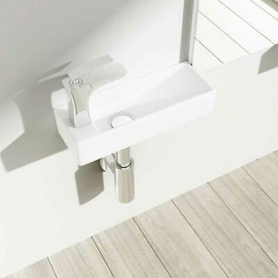 £41.65 • Buy Small Cloakroom Wall Hung Basin Hand Wash Bathroom Sink 25mm Tap Hole White