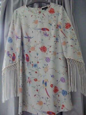 Topshop Silky Floral & Bird Print Tunic Dress With Fringe Trim Sleeves - Size 8 • 9.99£