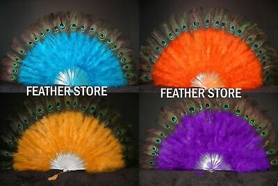 £21.57 • Buy MARABOU FEATHER FAN With Peacock Feathers 24  X 14