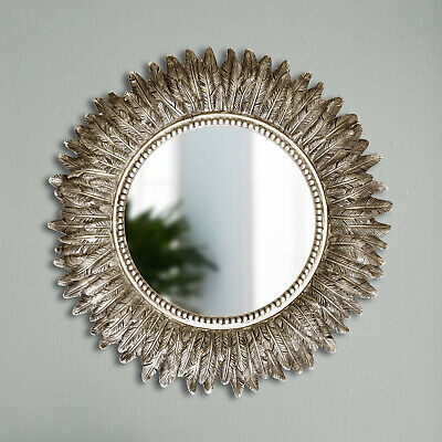 Distressed Silver Feathered Round Wall Mirror Livingroom Bedroom Hanging Decor  • 24.99£