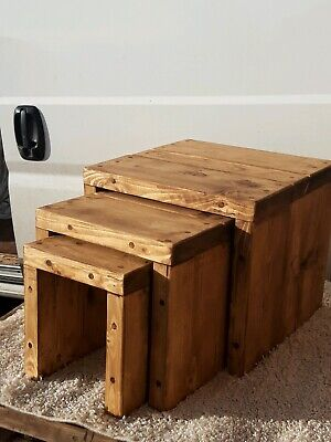 £135 • Buy Rustic Chunky Nest Of Tables Rustic Pine