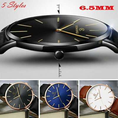 AU9.99 • Buy AU 6.5MM Men's Quartz Wrist Watches Leather Watch Strap Analog Slim Date Casual