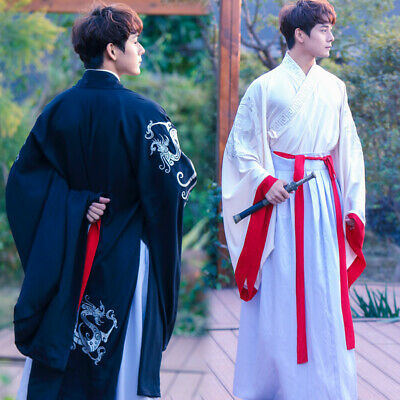 £47.53 • Buy Men Chinese Hanfu Traditional Costumes Han Dynasty Clothing Robe Dresses Outwear