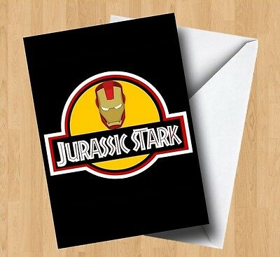 Personalised Jurassic Stark (Park/Iron Man) Birthday/Any Occasion Card • 2.99£