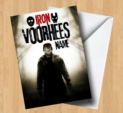 Personalised Iron Voorhes (Iron Man/Friday The 13th/Jason) Spoof Birthday Card • 2.99£