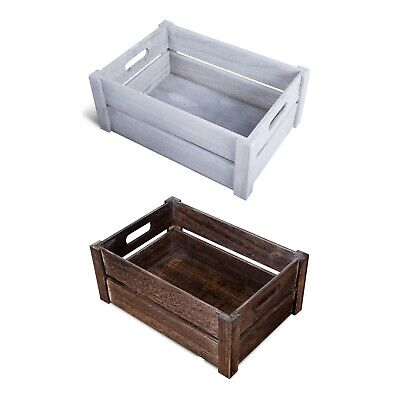 Oval Handle Display Storage Wooden Crates Shelve Box Christmas Gift Hampers • 9.49£