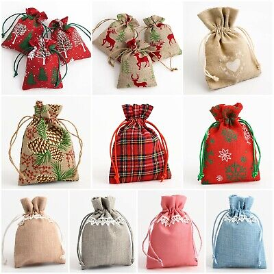 £2.14 • Buy Drawstring Favour Bags. Wedding Christmas Hessian Linen Fabric Gift Bag Pouch