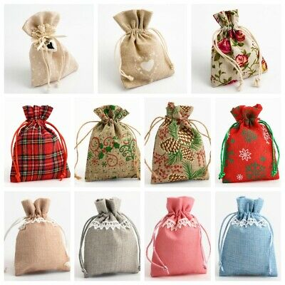 Drawstring Favour Bags. Wedding Christmas Hessian Linen Fabric Gift Bag Pouch • 1.95£