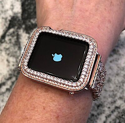 $ CDN90.71 • Buy 42mm Rose Gold Cz Apple Watch Bezel Princess Cut Iwatch Bling Case Series 2/3