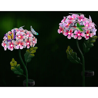 Solar Powered Metal Flower White LED Stake Light Garden Outdoor Lawn Lamp UK • 12.95£