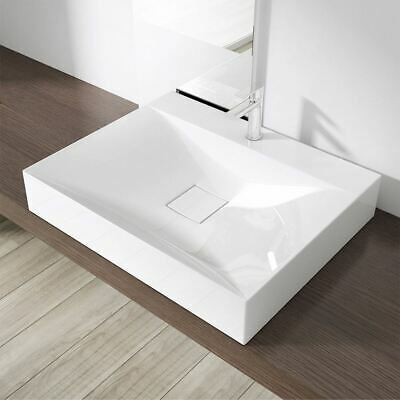 Modern Bathroom Stone Sink Countertop Wall Hung Basin 600 X 480mm Unslotted • 74.90£