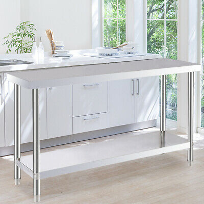 Stainless Steel Top Food Safe Prepare Table Industry Work Bench 2 Layers Desk UK • 115.95£