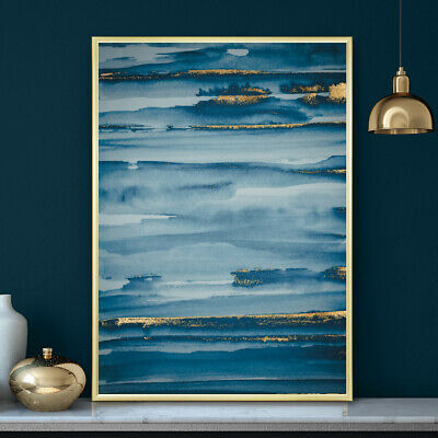 Blue & Gold Minimalist Watercolour Painting Wall Art Print Poster A4 A3 A2 A1 • 9.99£