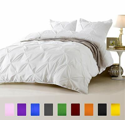 Euro King Ikea 1000 TC Egyptian Cotton Pinch Pleated Duvet Set Solid Color • 77.99£