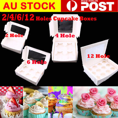 AU27.99 • Buy Cupcake Box Range 2 Hole 4 Hole 6 Hole 12 Hole Window Face Cases Party