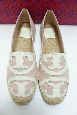 9d0840707 NWB Tory Burch Poppy Flat Espadrille Canvas/Leather Pink/New Ivory Size 8.5  AUTH