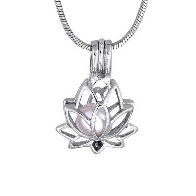 $ CDN6.66 • Buy 5pcs Silver Lotus Flower Pearl Pendant Love Wish Pearl Cage Women's Necklace