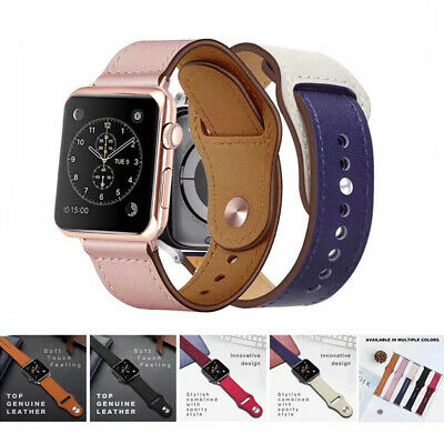 AU17.99 • Buy Genuine Leather Band Strap Bracelet Watchband For Apple Watch IWatch 44mm/42mm
