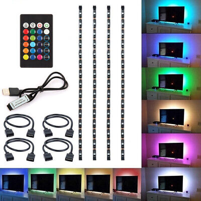 $9.48 • Buy 5V 5050 60SMD/M RGB LED Strip Light Bar TV Back Lighting Kit+USB Remote Control