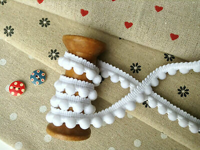 Pearl POM POM BOBBLE TRIM BEST QUALITY PomPoms Size MINI 10mm(0.4 ) 1m WHITE • 1.30£