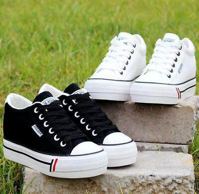 Womens Girls Hidden Wedge Canvas Trainers Plimsolls Sports Skate Shoes Fashion • 15.99£