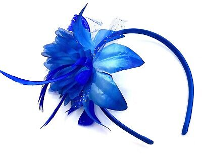 Royal Blue Feather Headband Aliceband Fascinator Ladies Day Royal Ascot Weddings • 3.99£