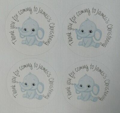 £1.60 • Buy Personalised Christening Stickers/ Labels. Blue Or Pink. Thank You For Coming