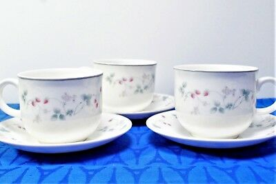 $ CDN21 • Buy LOT Of 3 Royal Doulton Expressions Strawberry Fayre Pink Cup + Saucer SETS MINT
