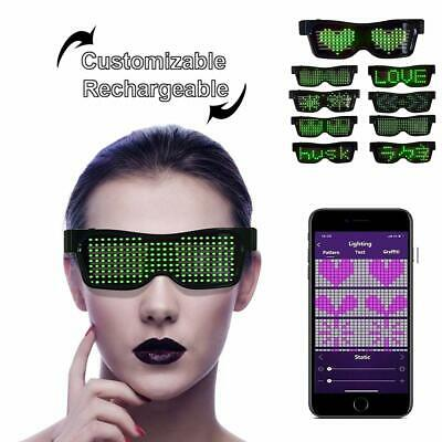 Customizable LED Light Up Glasses,App Control DIY, Flashing - Display Messages A • 16.14£
