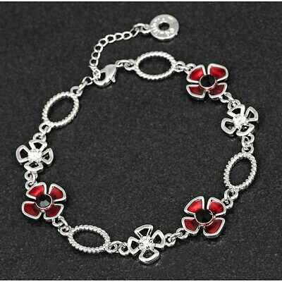 GIFT BOXED Equilibrium Silver Plated Red Poppy Galore Bracelet Diamante 289387 • 14.99£