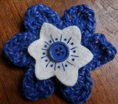 £3.50 • Buy CROCHET FLOWER CORSAGE BROOCH – Hand Crafted – Blue With Felt Inner And Button