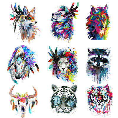 Wolf Unicorn Tiger Feather Patches Iron On Clothes Stickers DIY Thermal Transfer • 2.10£