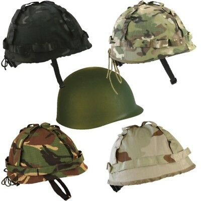 Kids Army Helmet + Cover Us M1 Replica Combat Hat Boys Camo Ww1 Ww2 Dress Up • 12.95£