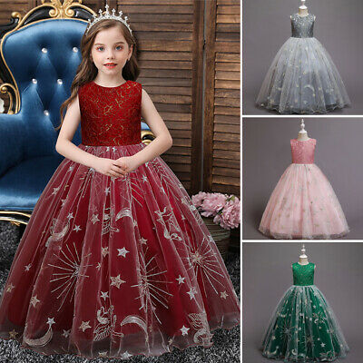 Child Kids Girls Beads Bridesmaid Dress High Low Bow Wedding Party Dresses Gown • 18.04£