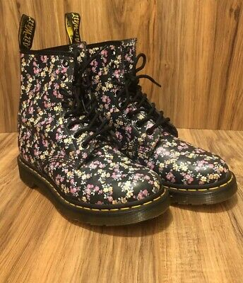 RARE🔥 Dr Martens Clemency 1460 Floral 8 Eyelets Leather Boots Womens 8 Nice • 145$