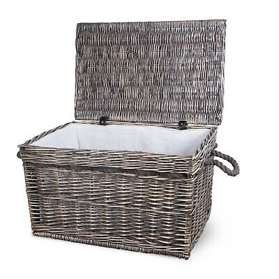 Bronze Wicker Large Storage Hamper Chest Trunk/Basket/Toy Box/Gift • 25.99£