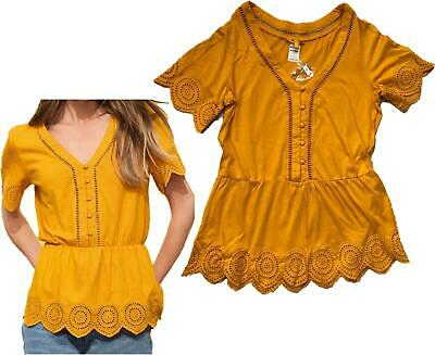 £5.95 • Buy NEXT Summer Ochre Yellow Broderie Sleeve Button Top Blouse Tunic 8- 24 CLEARANCE