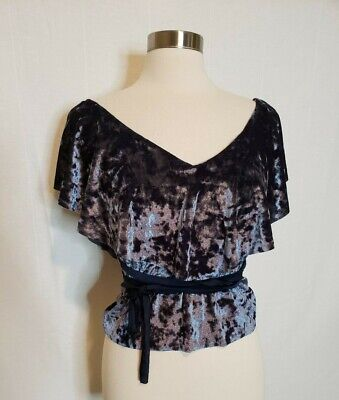 $19.91 • Buy Zara Crushed Velvet Off The Shoulder Top Womens Size Small Blue