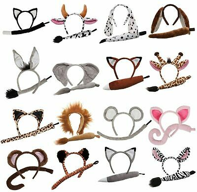 Child Animal Set With Ears And Tail Fancy Dress Costume Accessory • 2.59£