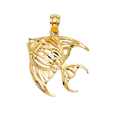 14K Yellow Gold Fish Charm Pendant For Necklace Or Chain • 98$