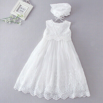 £24.99 • Buy Baby Girls White Lace Christening Dress Gown And Bonnet 0 3 6 9 12 18 Months