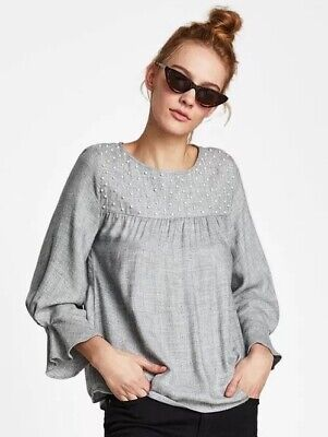 $19.95 • Buy Zara Blouse With Pearl Beads Size Small ~ Gray ~ Brand New