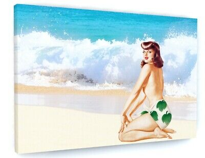 £23.58 • Buy 1950s Style Beach Model Pin Up Canvas Picture Print Wall Art 6602