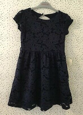 NEW Girls Yumi Navy Floral Lined Party Occasion Dress Age 7/8 Yrs 128cm • 12.99£