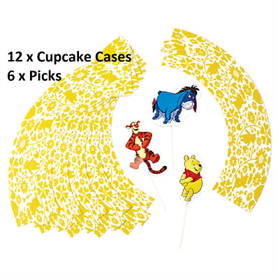 £2.99 • Buy 12 Disney Winnie The Pooh Cupcake Wraps 6 Picks Muffin Case Baking Wrappers