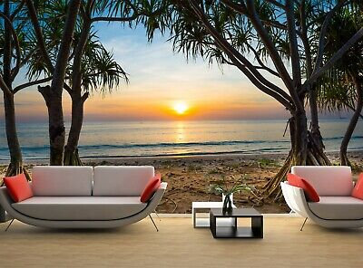 £56.63 • Buy Sunset At Tropical Beach  Photo Wallpaper Wall Mural DECOR Paper Poster