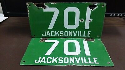 $ CDN1592 • Buy PAIR 1913 1914 Jacksonville Florida PORCELAIN  License Plate Tag