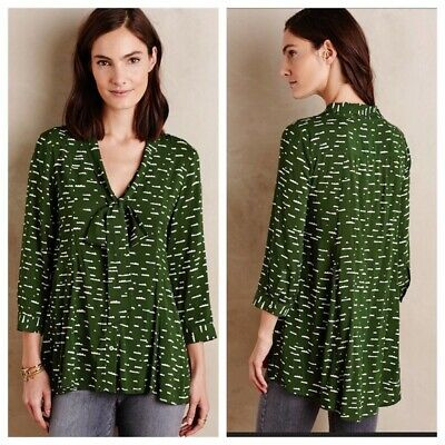 $ CDN22.99 • Buy Anthropologie Maeve Small Tie Neck Blouse Green Cloud Print 3/4 Sleeves Button
