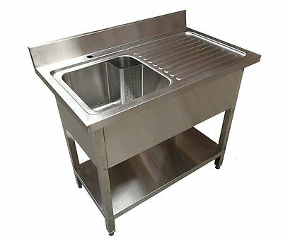 1M Commercial Kitchen Catering Stainless Steel Single Bowl Sink Right Hand Drain • 339£