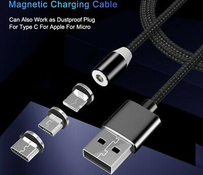 AU6.95 • Buy Braided Magnetic Lightning Micro USB Type-C Cable Charger Charging Samsung Iphon